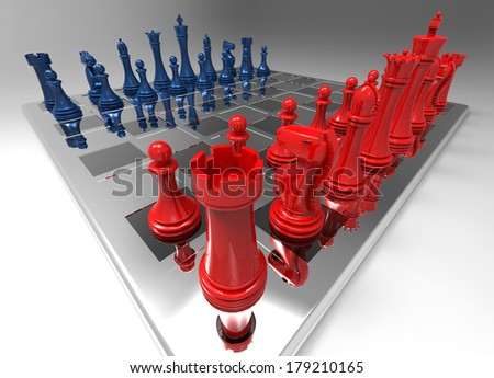 Glass Chessboard Wide Angle Rendering with Red and Blue Chess Pieces - stock photo