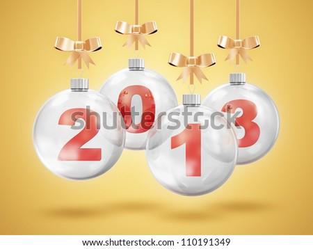 Glass Christmas Balls 2013 Hanging on Golden Ribbons - stock photo