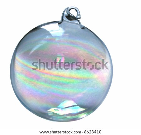 glass christmas ornament isolated on white background - stock photo
