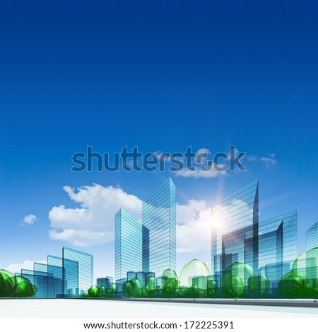 Glass city. Abstract 3d collage - stock photo