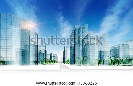 Glass city. Abstract 3d render original design - stock photo