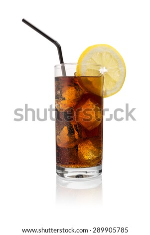 glass cola (softdrink) with ice cubes and lemon slice isolated on white background - stock photo