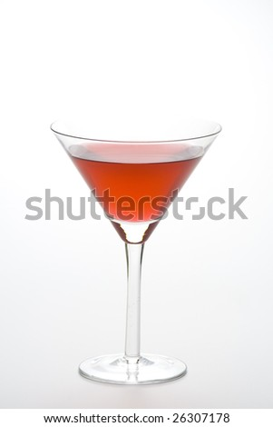 glass cold martini cocktail isolated over white