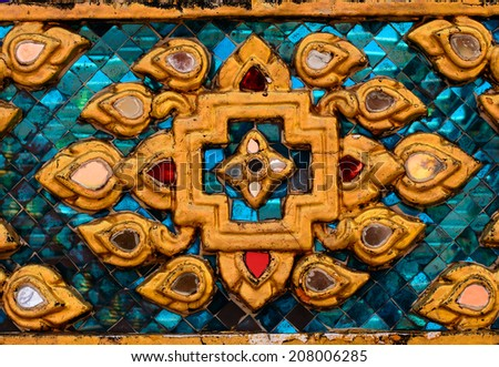 Glass Color Mosaic Pattern Style on temple Wall display at Wat Pho temple - stock photo