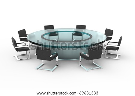 Glass conference table. Isolated white background. - stock photo