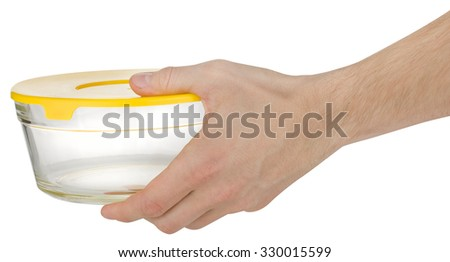 glass container in hand