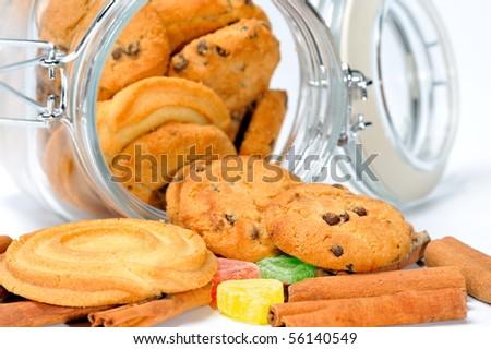 Glass cookie jar - stock photo