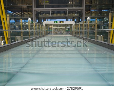 Glass corridor - stock photo