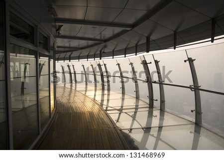 Glass corridor in the Sunset Business