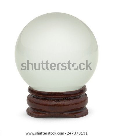 Glass Crystal Ball on Wood Base Isolated on White Background. - stock photo