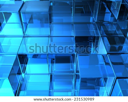 glass cubes on white background. digitally generated image - stock photo