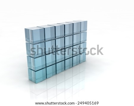 glass cubes wall on white background. digitally generated image - stock photo