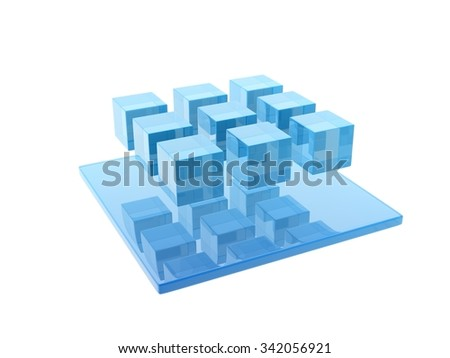 glass cubes white background.
