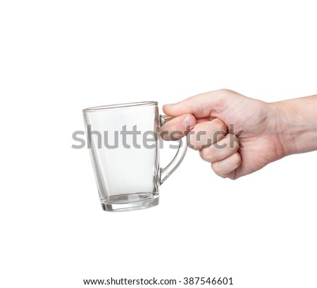 glass cup in hand isolated on white background