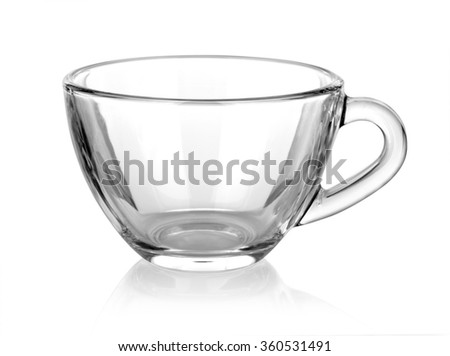 Glass cup isolated on white background.