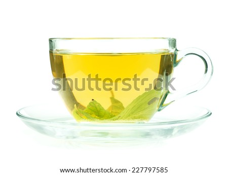 Glass cup of fresh green tea isolated on white background - stock photo