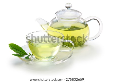 glass cup of Japanese green tea and teapot isolated on white background - stock photo
