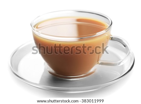 Glass cup of tea with milk isolated on white background - stock photo