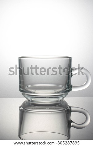 Glass cup on white background.
