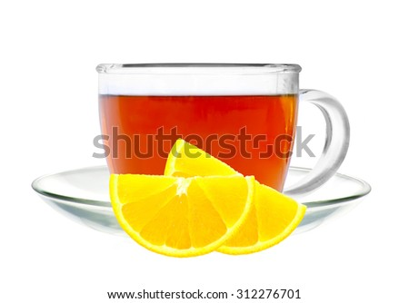 Glass cup tea and lemon isolated on a white background