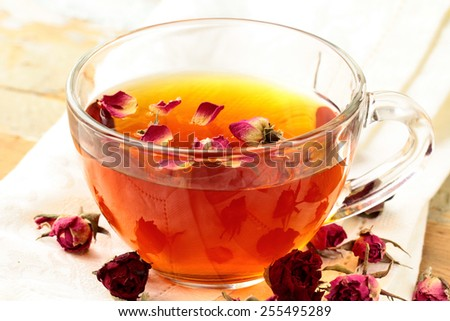 glass cup with herbal tea, healthy lifestyle - stock photo