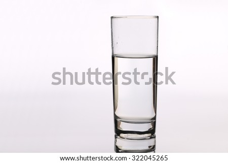 Glass cup with water is isolated on white background.
