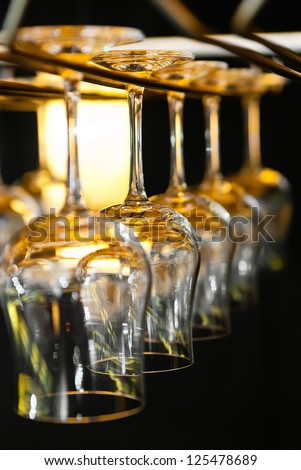 glass cups in the bar - stock photo