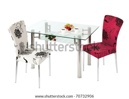 Glass dining table and chairs - isolated - stock photo