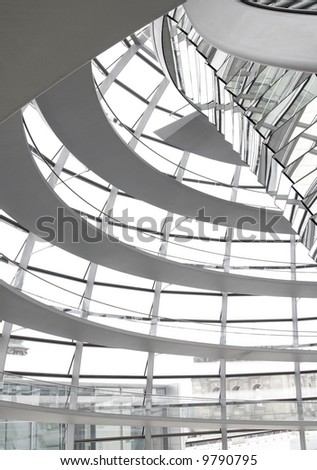 Glass Dome Interior Architecture Of The German Parliament 'Reichstag' in Berlin - stock photo
