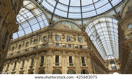 Glass dome of Galleria Vittorio Emanuele II in Milan Italy. - stock photo