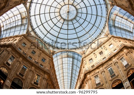 Glass dome of Galleria Vittorio Emanuele II shopping gallery. Milan, Italy.