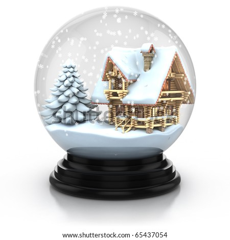 glass dome winter scene - wooden house and tree cover with snow 3d illustration. Can be used as a Christmas or a New Year gift or symbol - stock photo
