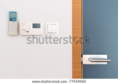 Glass door and gray wall as Architecture detail with copy space - stock photo
