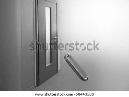 Glass door in office - stock photo