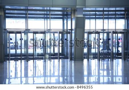 glass doors - stock photo