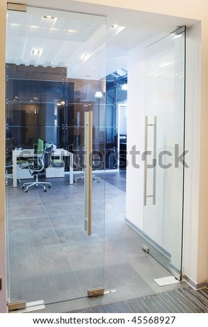 glass doors in the new office