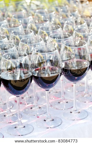 glass drink red wine on buffet outdoor party