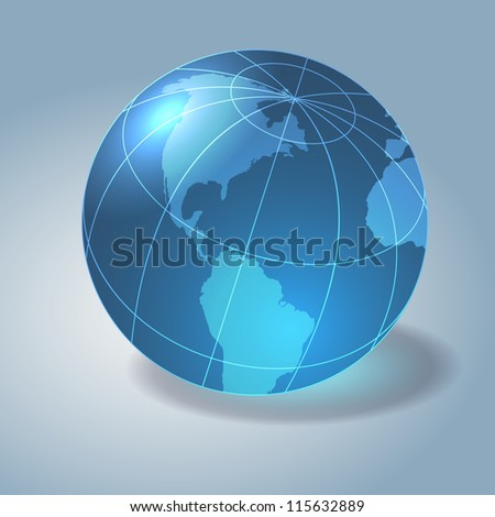 Glass earth - globe. Gray background. Raster version of the loaded vector. - stock photo