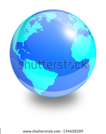 Glass Earth globe on a white background. Side of the Atlantic Ocean