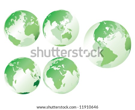 Glass earth in green - Multiple views of see-through, glass-like earth - stock photo