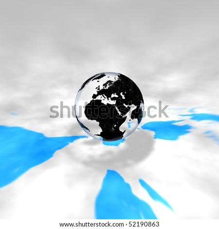 Glass Earth with shadow and blue mark of continent