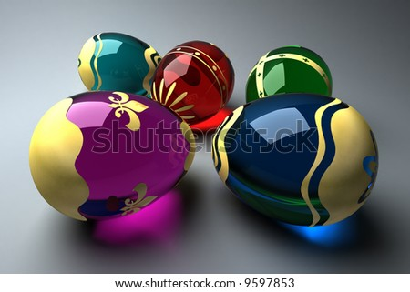 Glass easter eggs egg decorated with gold foil (3D rendering) - stock photo