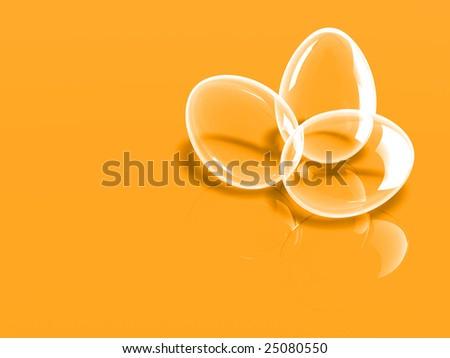 Glass eggs on orange background - stock photo