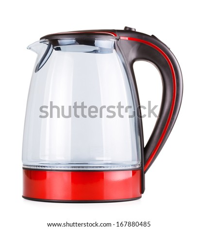glass electric kettle, isolated on white background - stock photo
