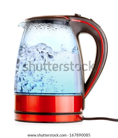 glass electric kettle with boiling water, isolated on white