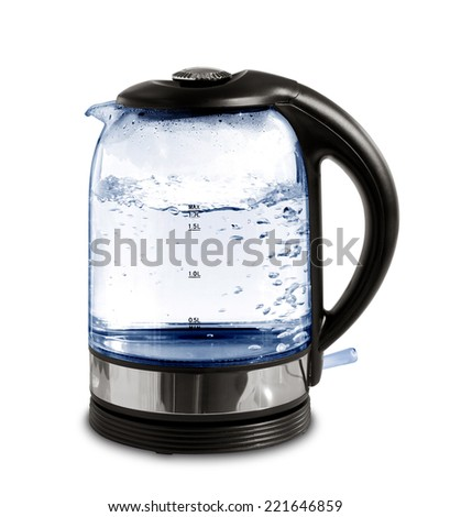 glass electric kettle with boiling water, isolated on white - stock photo