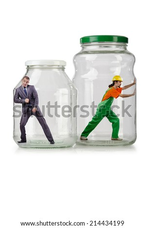 Glass empty jar isolated on white - stock photo