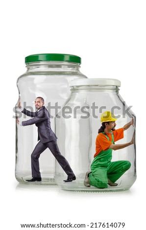 Glass empty jar isolated on white - stock photo