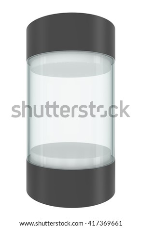 Glass empty showcase with pedestal and cap, isolated on white. 3D illustration