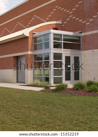 glass entry doors for a modern building - stock photo